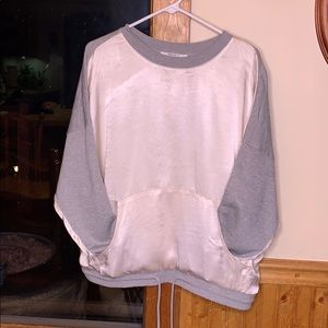 Cream satin sweater with gray knit back